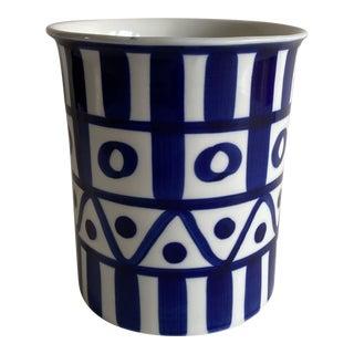 1960s Dansk Arabesque Blue & White Ceramic Kitchen Crock For Sale
