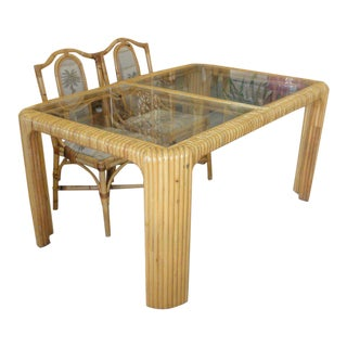 Island Chic Split Reed Bamboo Dining Table For Sale