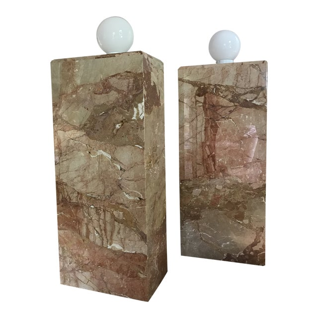 1980s Custom Vintage Monumental Marble Pedestal Lamps - a Pair For Sale