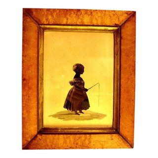 19th Century American Silhouette of Young Girl Fishing For Sale