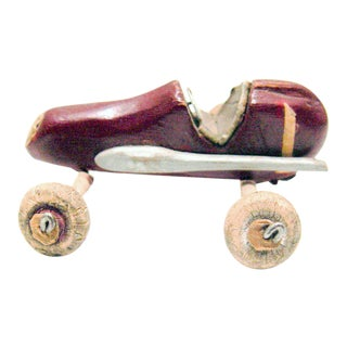 Tiny Folk Art Carved Wood Red Racing Car Toy For Sale
