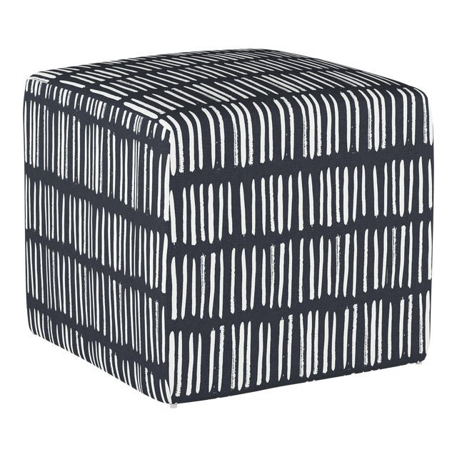Textile Dash Navy Cube Ottoman For Sale - Image 7 of 7