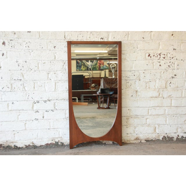 1960s Broyhill Brasilia Mid-Century Modern Walnut Framed Mirror For Sale - Image 5 of 5