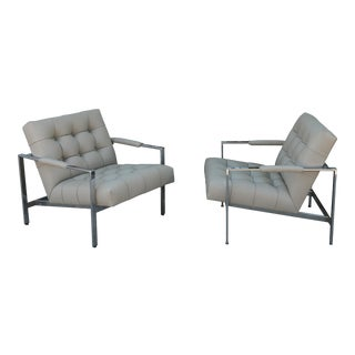 Milo Baughman ChromeTufted Lounge Chairs For Sale