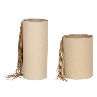 Cream Leather Fringe Vases - Set of 2, Fringes, Round Shaped, Decorative Home Decor, Glass Inserted, Modern Look For Sale