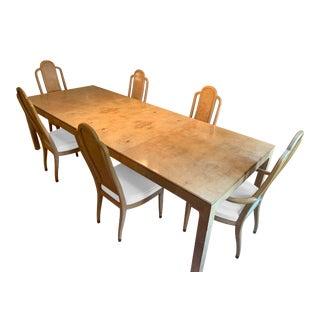 1970's Henredon Burl Wood Extendable Parsons Dining Table & 6 Chairs - Scene Two Collection - 9 Pc. Set For Sale