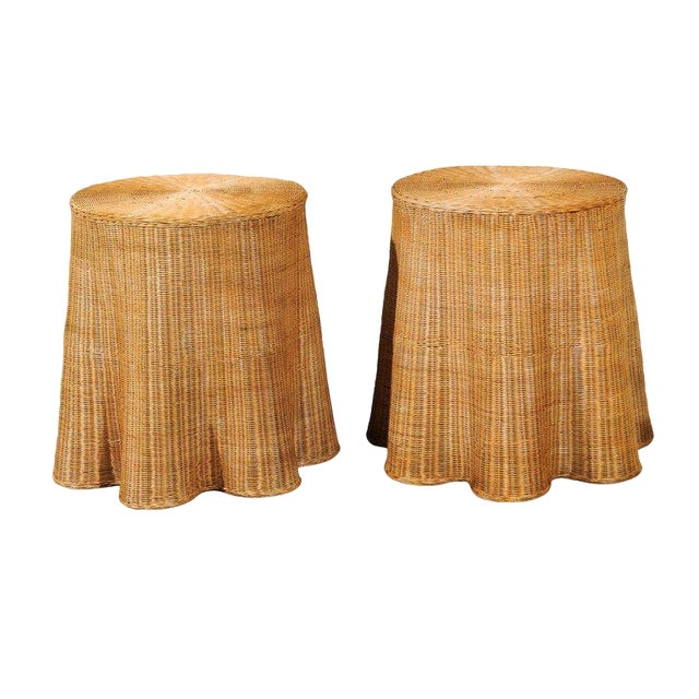 Stellar Pair of Vintage Trompe l'Oiel Drape Wicker Tables For Sale