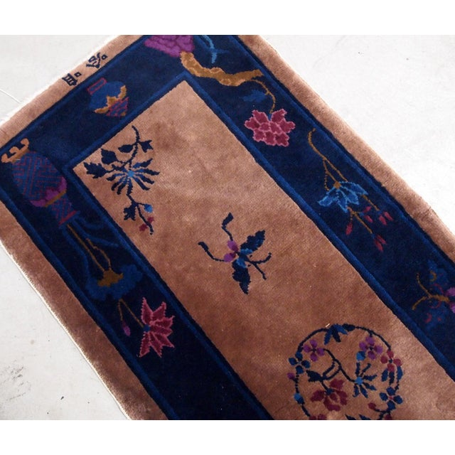 1920s Handmade Antique Art Deco Chinese Rug 2.2' X 6.7' For Sale - Image 4 of 9