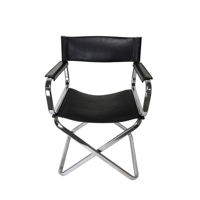"An insanely gorgeous black leather and chrome Director's chair that was hand-crafted in Italy. Foldable. Mark: ""Arrben""...."