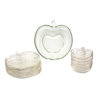 Vintage Glass Apple Orchard Tableware by Hazel-Atlas - Set of 13 For Sale