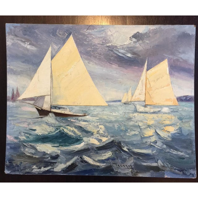 Fabulous Signed Oil on Canvas Board Seascape With Sailboats - #3 - Image 2 of 4