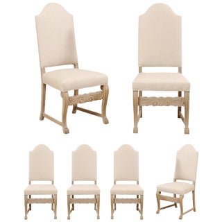 Vintage Mid Century Swedish Upholstered Vintage Pale Wood Side Dining Chairs- Set of 6 For Sale