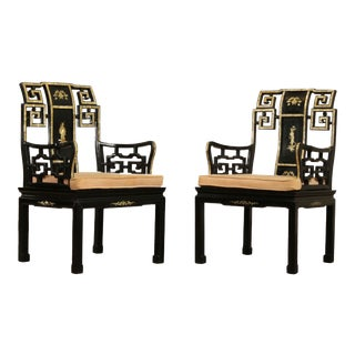 Vintage Italian Black Lacquer & Mother of Pearl Inlaid Pair Armchairs For Sale