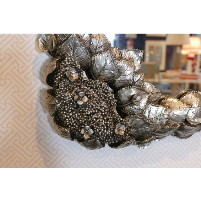 Carvers' Guild Climbing Hydrangea Mirror in Nickel For Sale - Image 4 of 5