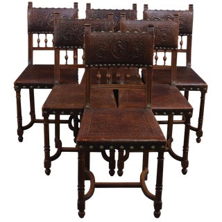 Dining Chairs Antique French Henry II Renaissance - Set of 6 For Sale