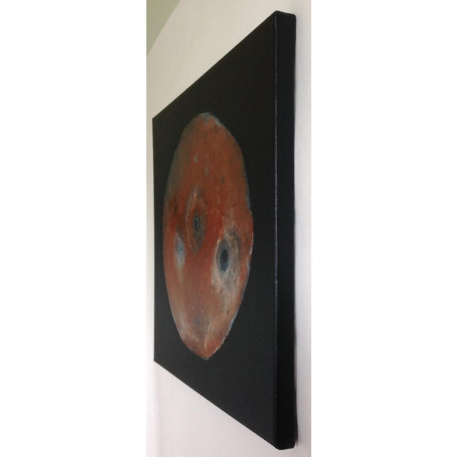 Abstract Abstract Rust Brown Black and Blue Turquoise Moon Painting For Sale - Image 3 of 4