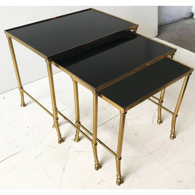 1970s Vintage Set of Bronze Nesting Tables by Maison Jansen For Sale - Image 5 of 5