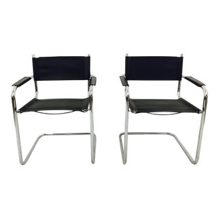 Mart Stam S34 Chrome & Black Leather Chairs - Pair For Sale