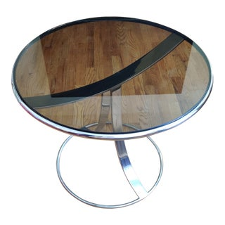 Vintage Smoked Glass and Chrome Side Table by Gardner Leaver for Steelcase For Sale
