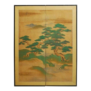 18th Century Japanese Two-Panel Kano School Screen