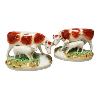 Late 19th Century Antique Staffordshire Cow Figurines- A Pair For Sale