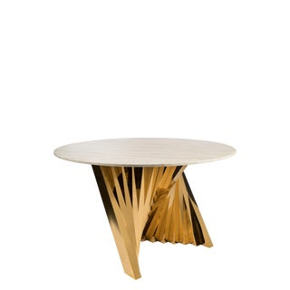 Waterfall Marble Top Dining Table in Gold For Sale