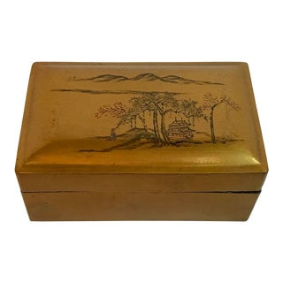 Vintage Chinese Laquered Trinket Box For Sale