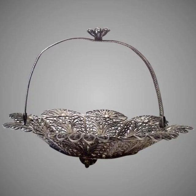 Lovely Doll's Silver Filigree Handled Basket For Sale - Image 9 of 9