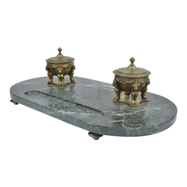 Antique French Empire Style Figural Bronze Green Marble Double Inkwell Neoclassic - Image 1 of 11