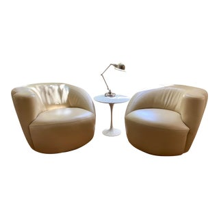 "1960s Vintage Vladimir Kagan Nautilus ""Corkscrew"" Swivel Club Chairs - A Pair For Sale"