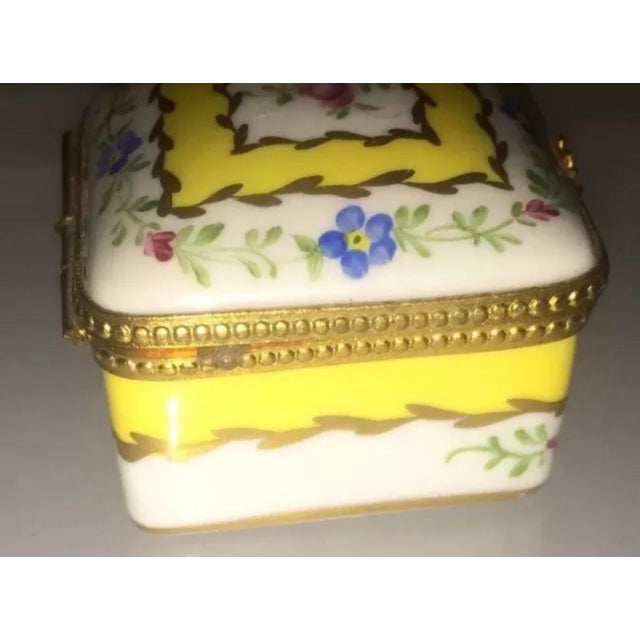 Limoges, France Vintage Limoges Yellow & White Floral Box For Sale - Image 4 of 13