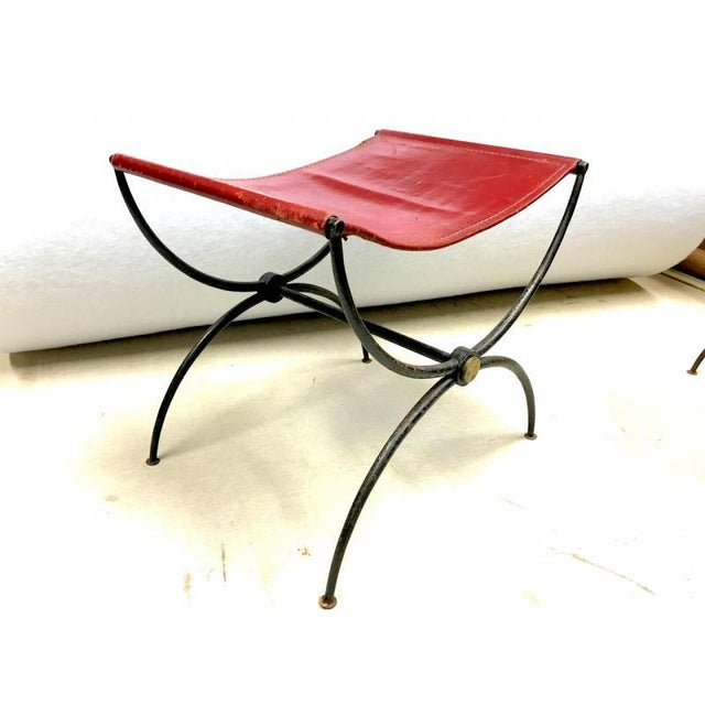 """Art Deco Rene Prou Pair of """"X"""" Stools in Wrought Iron and Red Hermes Color Leather For Sale - Image 3 of 6"""