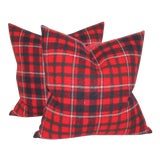 Image of Red & Black Striped Plaid Pillows - A Pair For Sale