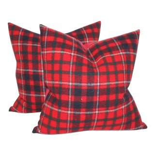 Red & Black Striped Plaid Pillows - A Pair For Sale