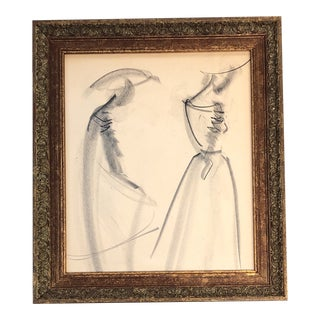 Vintage Original 1950's Charcoal Study Female Fashion Abstract Figures For Sale