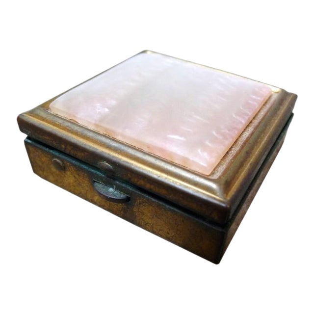 Vintage Brass & Mother of Pearl Pill Box For Sale