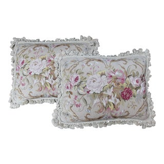 Vintage Floral Needlepoint Pillows - a Pair For Sale