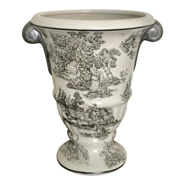Black And White Ceramic Toile Urn Vase With Handles Chairish