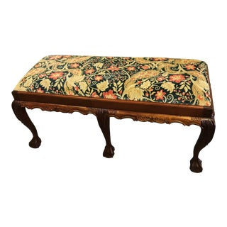 20th Century Chippendale Claw Foot Mahogany Bench For Sale