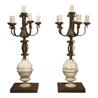 Pair of French Candelabra Lamps Made From Hand Wrought Iron and Antique Elements For Sale