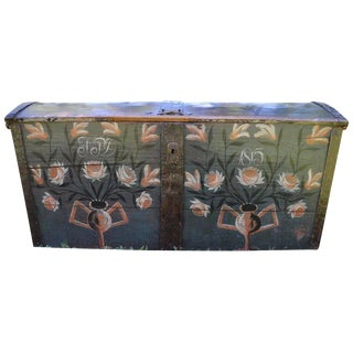 1815 Antique European Polychrome Painted Wedding Chest For Sale