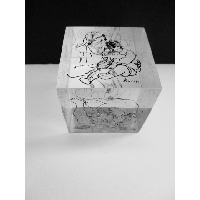 Picasso Drawings Lucite Cube Paperweight For Sale - Image 5 of 9