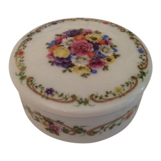 1970s Vintage Limoges Flower Trinket Box For Sale
