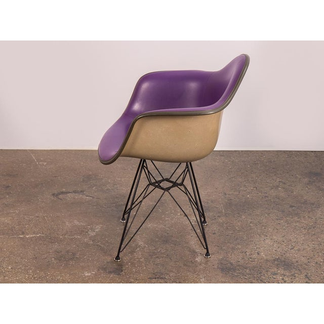 Mid-Century Modern Purple Eames Padded Armshell Chair on Black Eiffel Base for Herman Miller For Sale - Image 3 of 9
