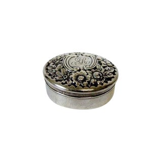 1990s Antique Gorham Sterling Silver Repousse Box For Sale