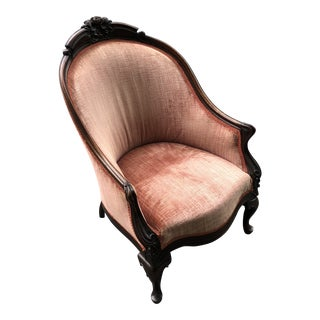 Antique French Carved Velvet Upholstered Barrel Tub Chair