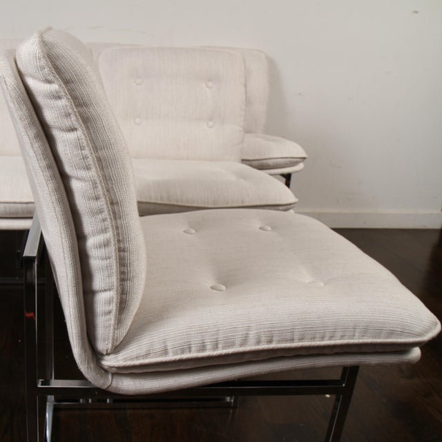 White Milo Baughman for Thayer Coggin Chrome Dining Chairs For Sale - Image 8 of 10