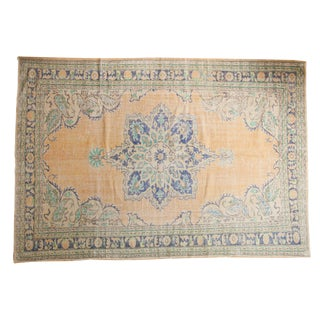 "Vintage Distressed Oushak Carpet - 7'4"" X 10'5"" For Sale"