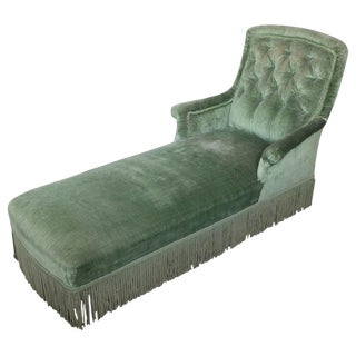 French Napoleon III Light Green Tufted Back Chaise Longue For Sale