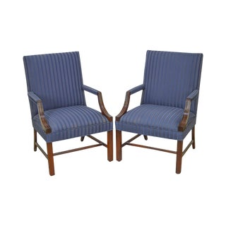 Chippendale Style Pair of Blue Striped Upholstered Mahogany Library Arm Chairs